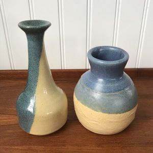 Pair of Vintage Studio Pottery Small Vases